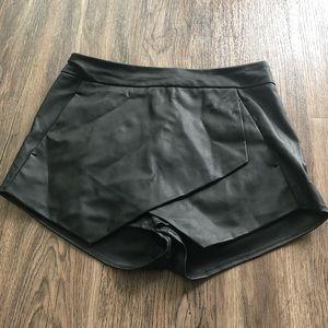 Express Black Leather Skort
